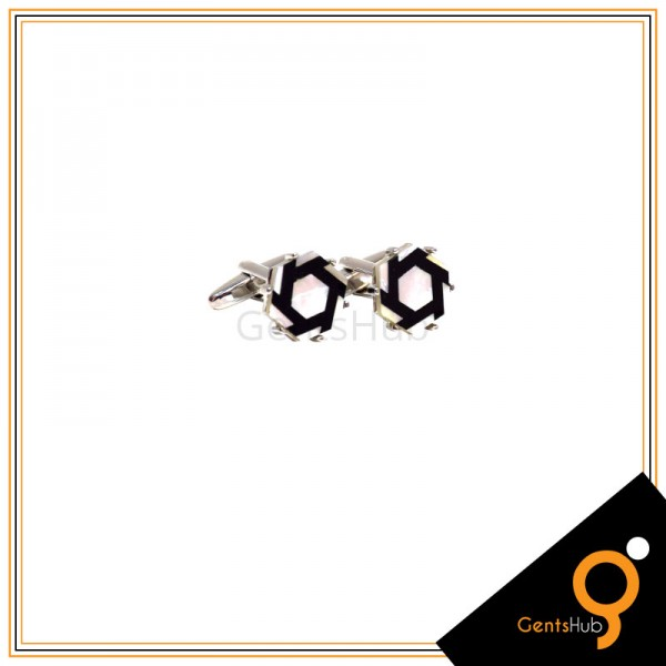 Cufflinks White Acrylic with Black Outline With Sterling Silver for Men