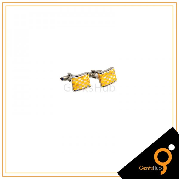 Cufflinks Yellow Checkered With Sterling Silver for Men