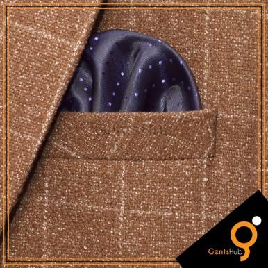 Dark Blue with Purple Dots Silk Pocket Handkerchief for Men