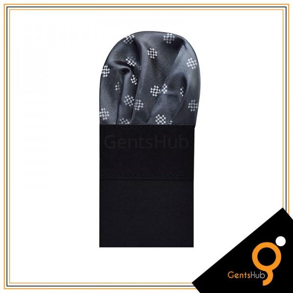 Dark Grey Dotted Checkered Pocket Handkerchief for Men
