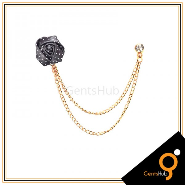 Dark Grey Flower with White Dots Brooch With Golden Chains