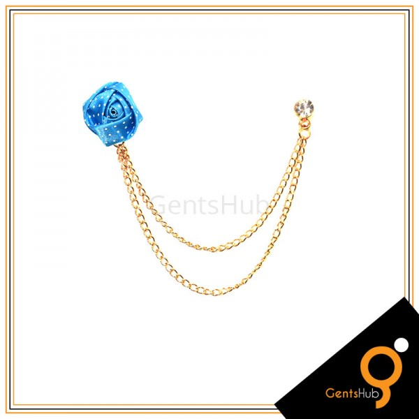 Light Blue Flower with White Dots Brooch With Golden Chains