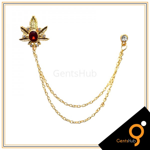 Golden Leaf Style Brooch with Maroon Crystal Stone With Golden Chains