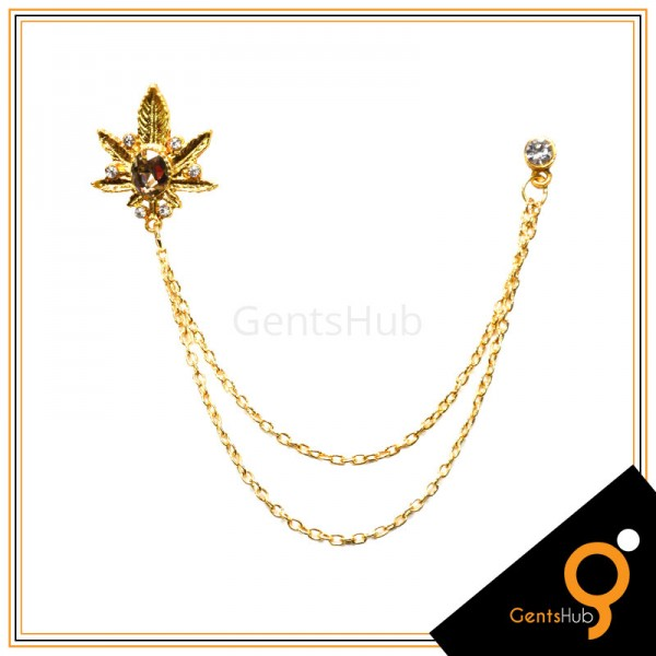 Golden Leaf Style Brooch with Crystal Stone With Golden Chains