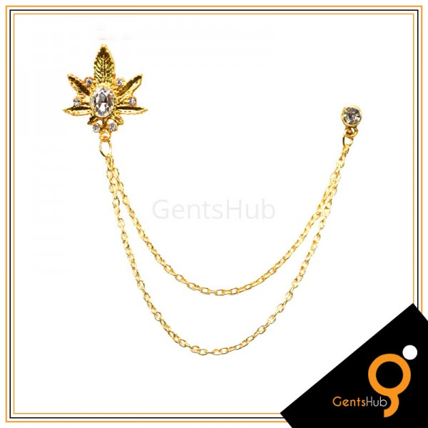 Golden Leaf Style Brooch with White Crystal Stone With Golden Chains