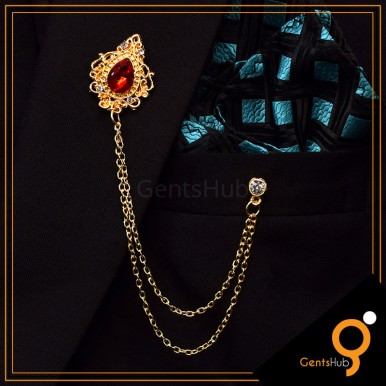 Golden Vintage Brooch with Red Crystal Stone With Golden Chains