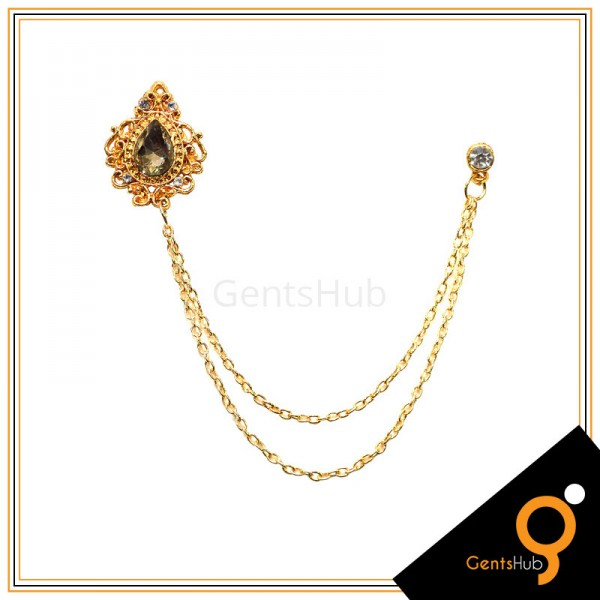 Golden Vintage Brooch with Champagne Crystal Stone With Golden Chains