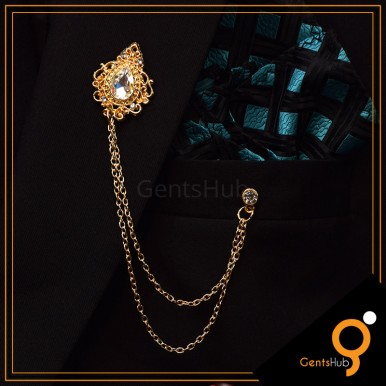 Golden Vintage Brooch with White Crystal Stone With Golden Chains