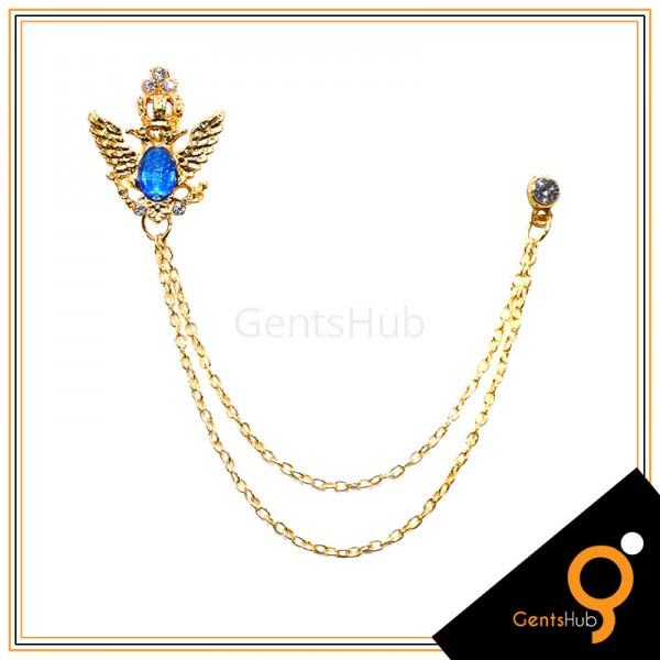 Golden Feather Brooch with Blue Mini Crystal Stone with Golden Chains
