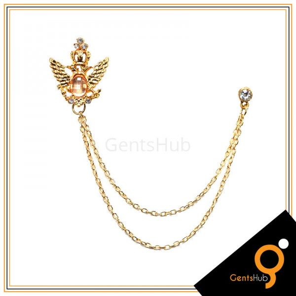 Golden Feather Brooch with Orange Mini Crystal Stone with Golden Chains