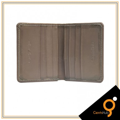 Grey Leather Card Holder with Wallet For Men