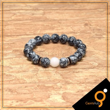 Grey Texture Beads with white Beads Bracelet