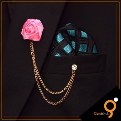Blush Pink Flower with White Dots Brooch With Golden Chains