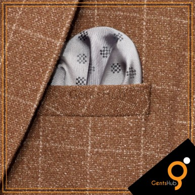 Grey Dotted Checkered Pocket Handkerchief for Men