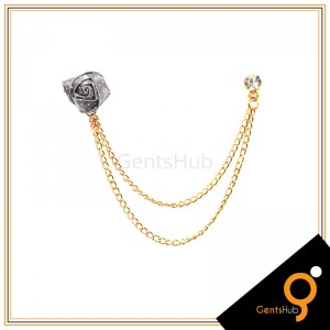 Grey Flower with White Dots Brooch With Golden Chains
