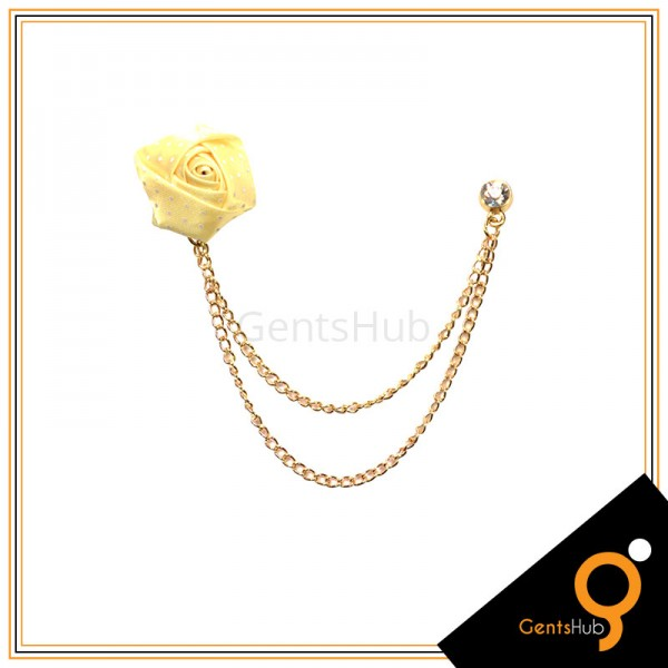 Light Yellow Flower with White Dots Brooch With Golden Chains