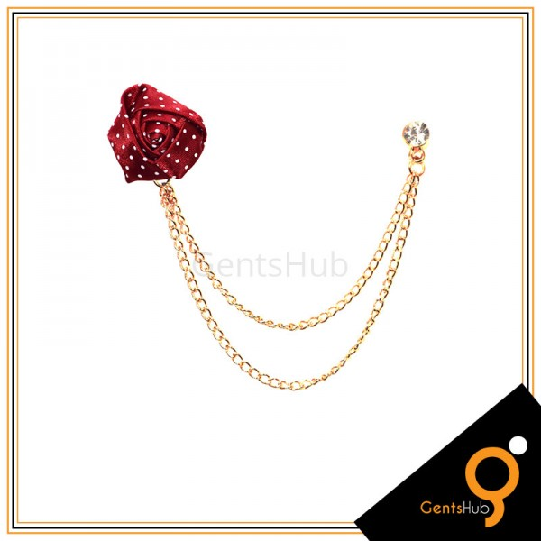 Maroon Flower with White Dots Brooch With Golden Chains