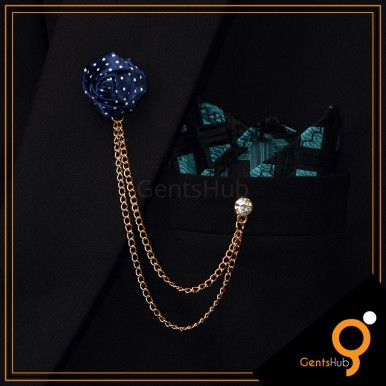 Navy Blue Flower with White Dots Brooch With Golden Chains
