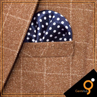 Navy Blue with White Polka Dots Silk Pocket Handkerchief for Men