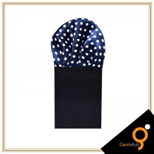 Navy Blue with White Polka Dots Silk Pocket Handkerchief for Men