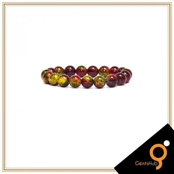 Olive and Maroon Texture Beads Bracelet