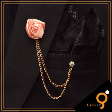 Peach Flower with White Dots Brooch With Golden Chains
