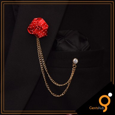 Red Flower with White Dots Brooch With Golden Chains