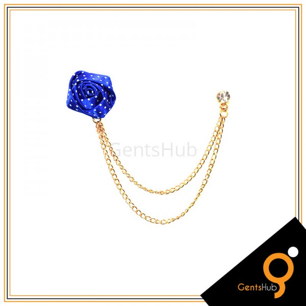 Royal Blue Flower with White Dots Brooch With Golden Chains
