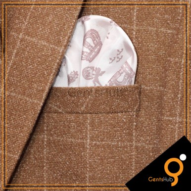 White Crown Style Printed Silk Pocket Handkerchief for Men