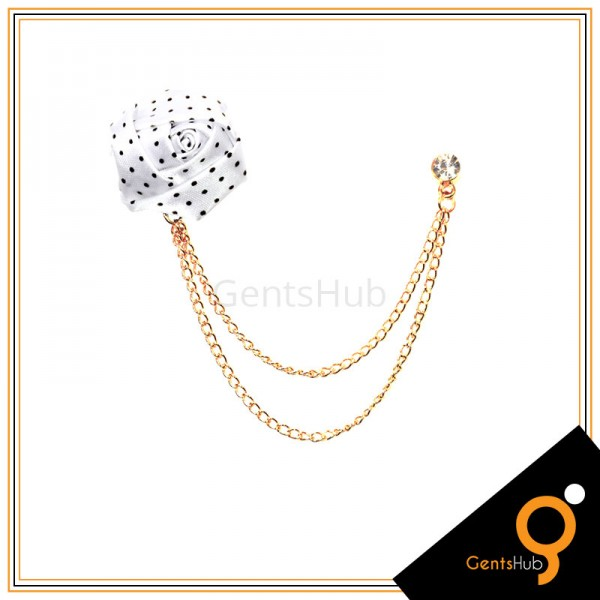 White Flower with Black Dots Brooch With Golden Chains