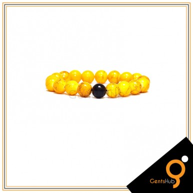 Couple Bracelets Black with Yellow Texture Beads