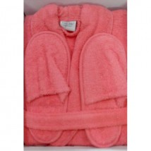 Towel Gown Bath Robe with Bath Slippers in Peachy Pink Colour