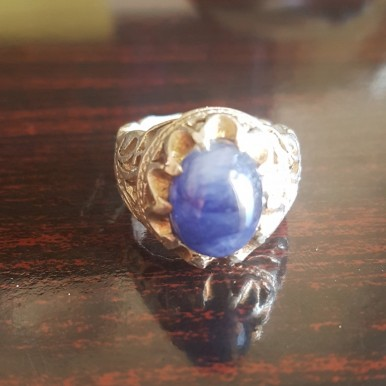 Man s Silver Ring with Natural Blue Sapphire