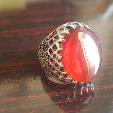 Silver mens Ring With Natural Aqeeq