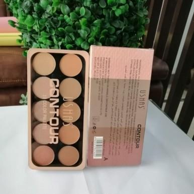 Ushas Professional 10 Color Contour Highlighter Palette Makeup Foundation Kit