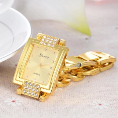 Square Dial Golden Watch for Women