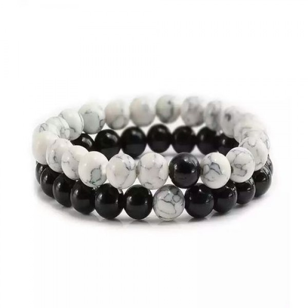 2 Pcs Black And White Beads Bracelet Natural Stone