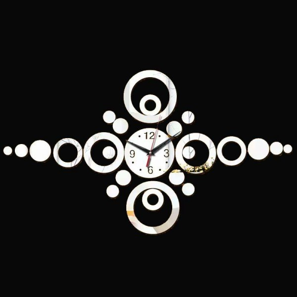 Stylish Silver Clock Sticker