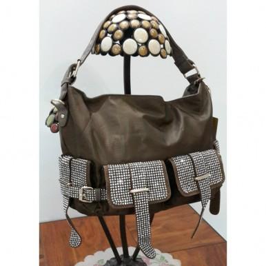 Fashionable Dark Brown Studded Ladies Handbag