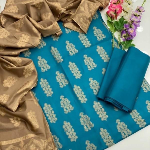 Jacquard Lawn Suit blue color