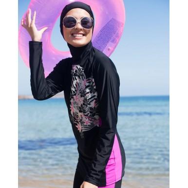 Floral Black Burkini - Islamic Swimming Suit for Women