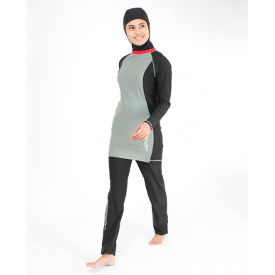 Black and Grey Surf Burkini for Women