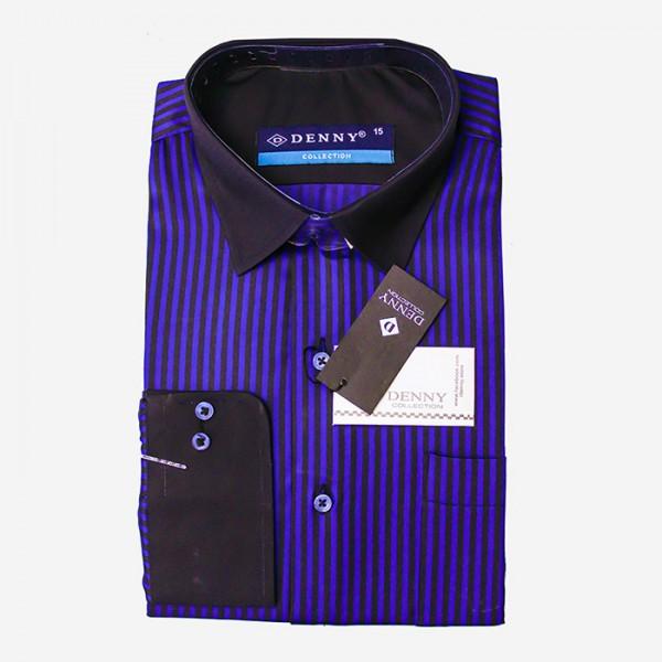 Denny Formal Cotton Blue and Black linning Shirt For Men Blue