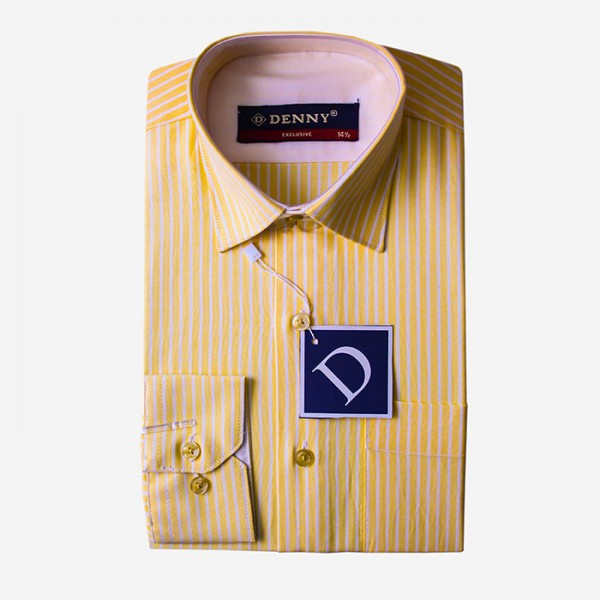 Denny Cotton Yellow Stripped Formal Shirt For Men Yellow