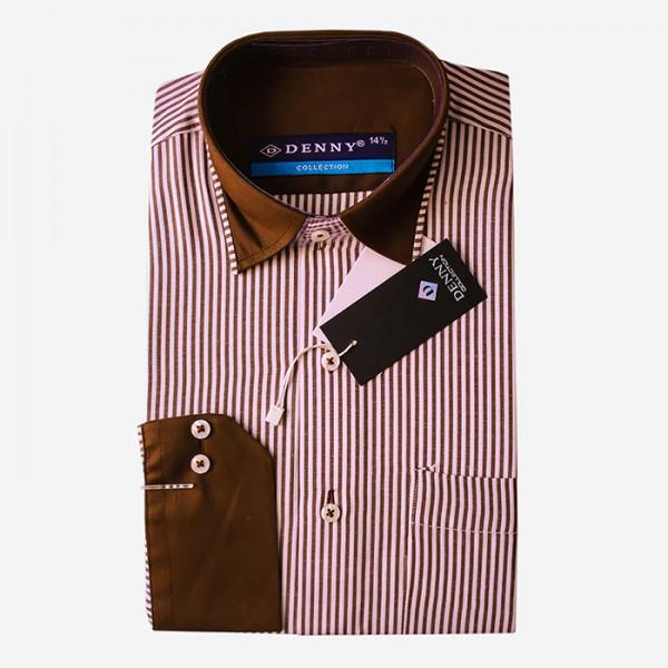 Denny Cotton Formal Shirt For Men in Brown Color