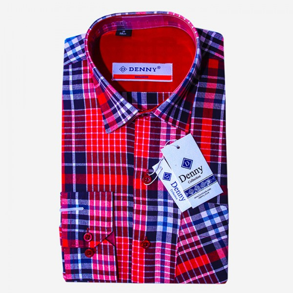 Denny Cotton Red Checkered Shirt For Men