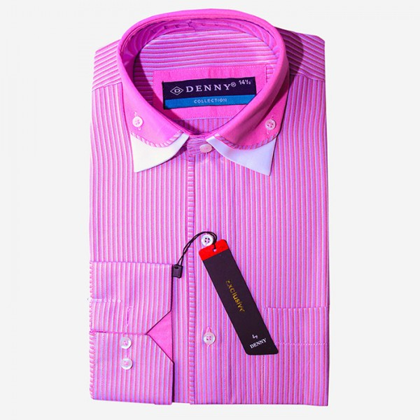 Denny Cotton Formal Shirt For Men - Pink Stripped Shirt
