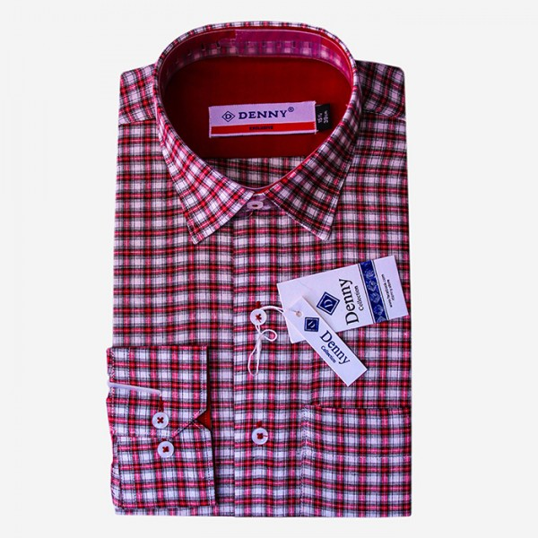 Denny Cotton Red Checkered Formal Shirt For Men