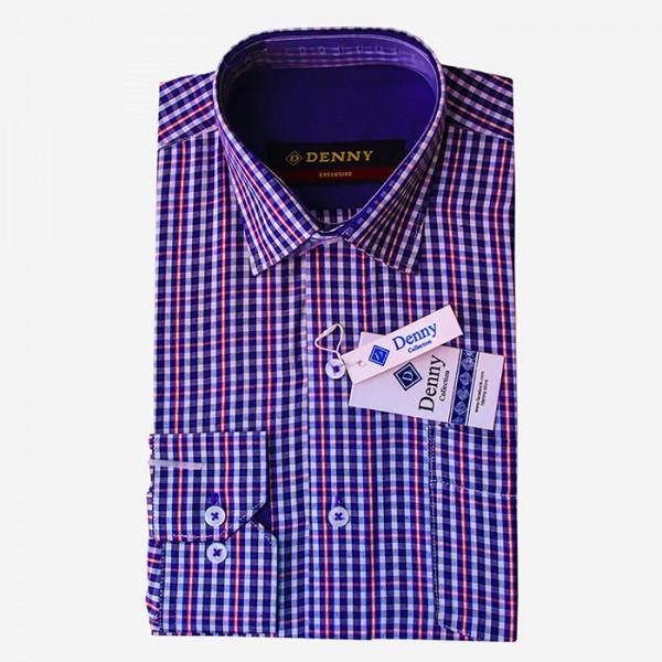 Denny Cotton Formal Shirt For Men Blue Checkered