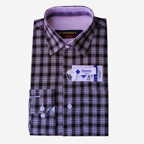 Denny Cotton Formal Shirt For Men Black Checkered